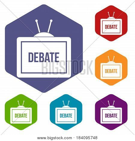 TV with the Debate inscription on the screen icons set hexagon isolated vector illustration