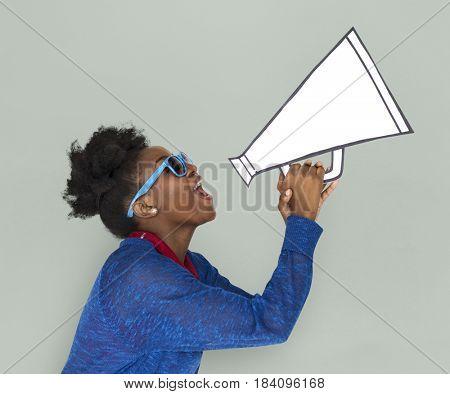 African Descent Female Holding Megaphone