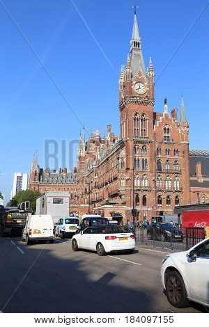 LONDON, GREAT BRITAIN - MAY 16, 2014: St. Pancras International is one of 13 central London train stations.