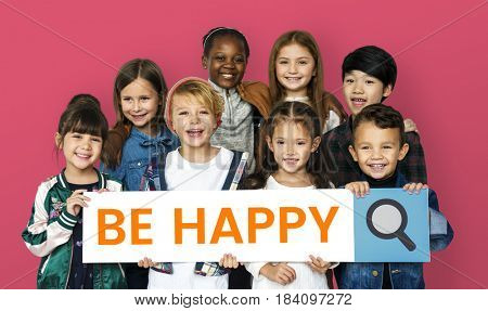 Children with searching banner for positivity and enjoy life