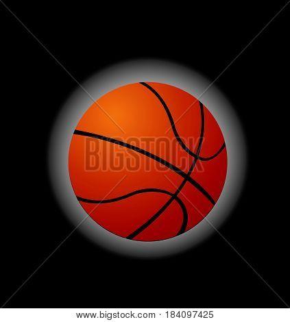 Basketball, vector illustration art on black background