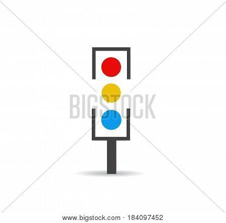 Traffic light on white backgroud design art