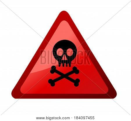 Warning sign with skull on white background