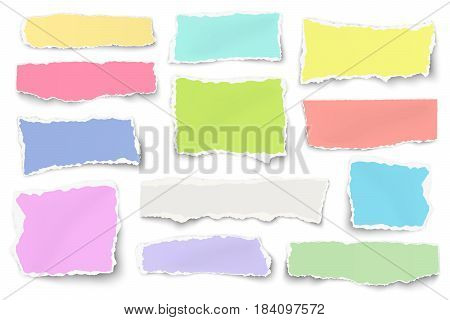 Set of paper different shapes and colors scraps isolated on white background