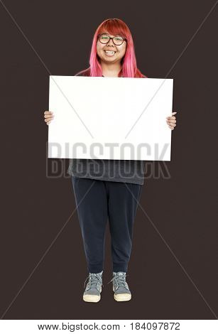 Adult Woman Holding Blank Paper Board Studio Portrait