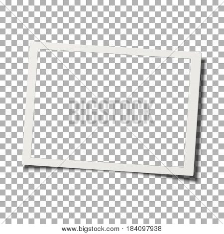 Retro realistic vector photo frame with shadow effect isolated on transparent background. Template photo design.