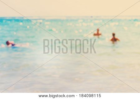 abstract blured sea with sunshine background, Tenerifer, retro toned