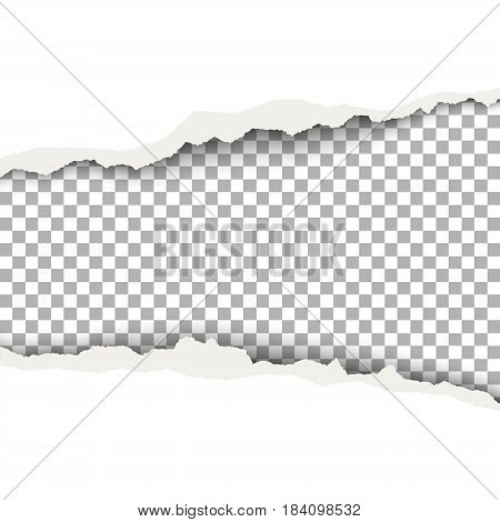 Snatched middle of white paper with torn edges soft shadow and space for text. Template paper design for banner advertising and marketing.
