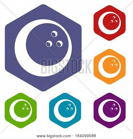 Marbled bowling ball icons set hexagon isolated vector illustration