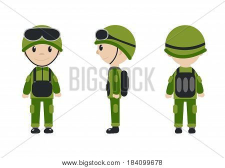 Cartoon character of the worker, soldier, construction worker. The guy in the form of talisman. Worker, builder, soldier mascot logo. Vector illustration
