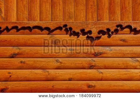 Brown wooden texture of the walls of the private rural building