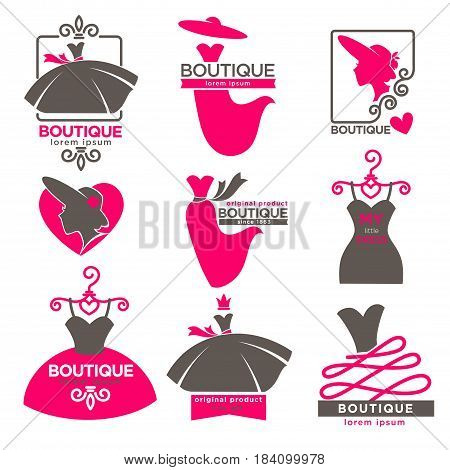 Dress boutique or fashion atelier salon logos templates set for dressmaker shop. Vector isolated icons of woman silhouette and dresses on dummy hanger with pink hat