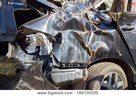 CHIANG RAI THAILAND - NOVEMBER 13 : close-up broken black car from accident on November 13 2014 in Chiang rai Thailand.