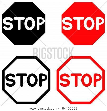Symbol Stop Black And Red Color.
