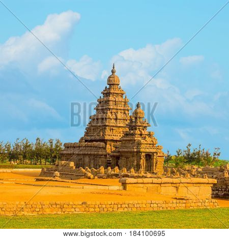 beautiful landscape of ancient monolithic famous Shore Temple near Mahabalipuram world heritage site in Tamil Nadu India