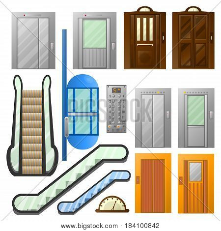 Elevators, escalators and lifts isolated flat icons. Vector symbols set of modern and retro moving staircase, stairs and cabins for house or industrial buildings