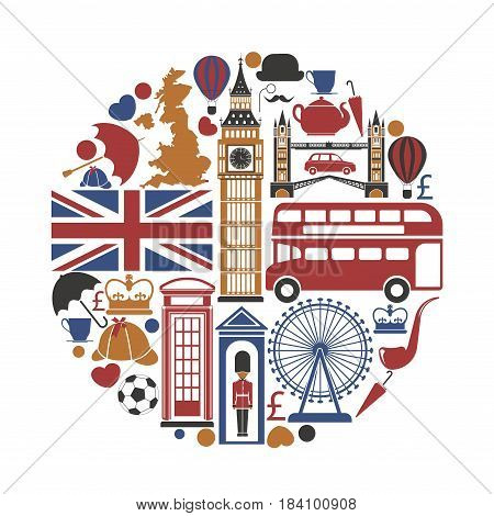England UK sightseeing landmarks and famous vector travel attractions poster. Vector icons of British map and flag, Big Ben Tower and Westminster Abbey, London Eye and Bridge or royal guard