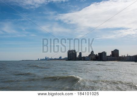 Chicago View On A Michigan Lake