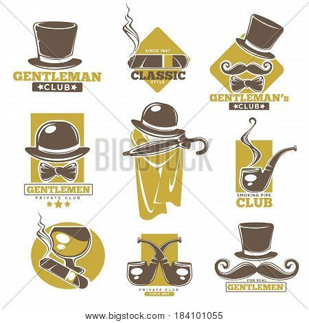 57f5f81cde7 Gentleman club logos templates set. Vector isolated retro or vintage  symbols of smoking pipe or