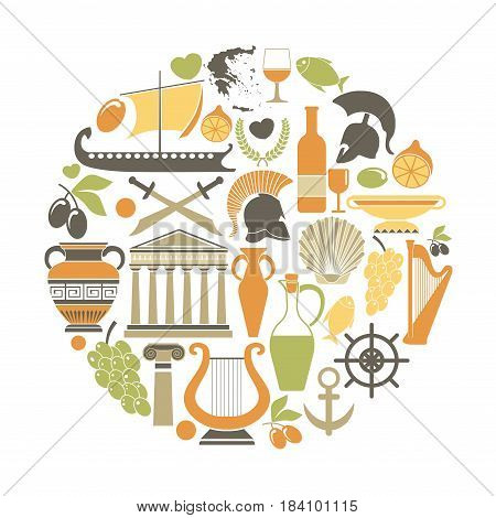 Greece sightseeing landmarks and famous vector travel attractions poster. Vector icons of Greek map and flag, Athens Pantheon acropolis, Aphrodite goddess, and olive oil, harp and Spartan helmet