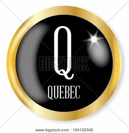 Q for Quebec button from the NATO phonetic alphabet with a gold metal circular border over a white background