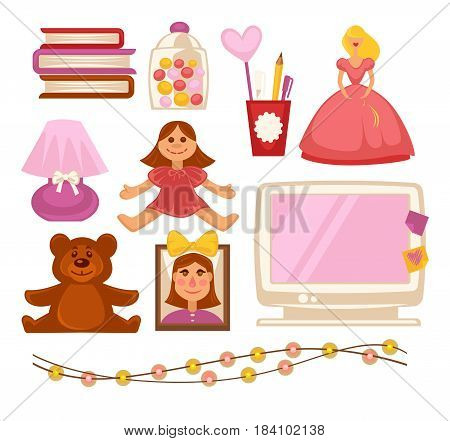 Girl kid or child toys, appliances and accessories. Vector flat icons of fairy tale books, computer, dolls and playthings, photo frame with pink hearts and light garland or night lamp
