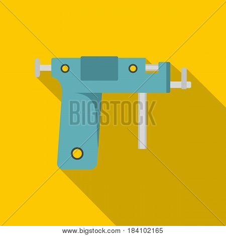 Piercing gun icon. Flat illustration of piercing gun vector icon for web on yellow background