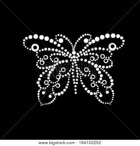 Stylized silhouette of butterfly from white dots on a black background