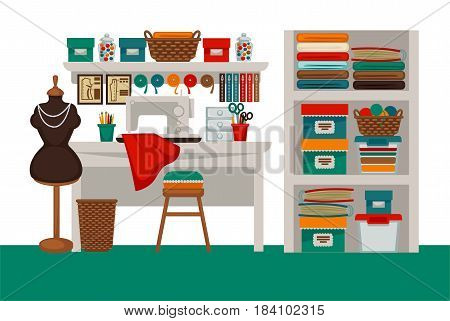 Dressmaker modiste salon or atelier tailor parlor workplace interior. Vector flat sewing machine, dress on dummy, scissors and tape measure on shelf, textile clothes, threads and knit needles on chair