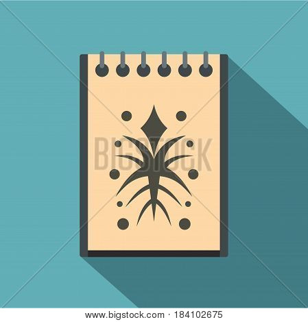 Spiral notebook with tattoo sketch icon. Flat illustration of spiral notebook with tattoo sketch vector icon for web on baby blue background