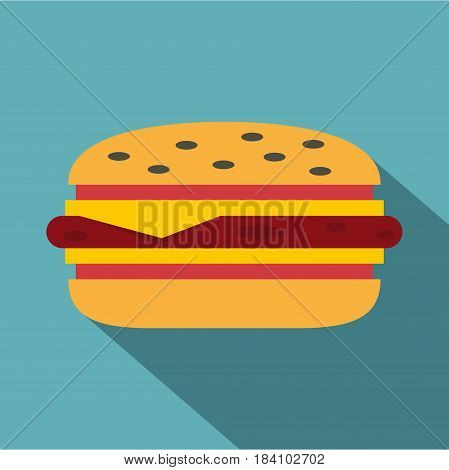 Classic cheeseburger icon. Flat illustration of classic cheeseburger vector icon for web on baby blue background