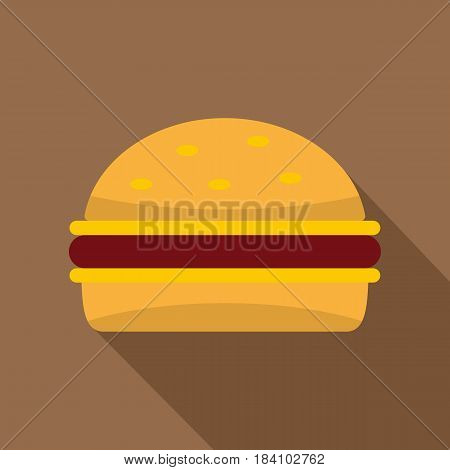 Cheeseburger icon. Flat illustration of cheeseburger vector icon for web on coffee background