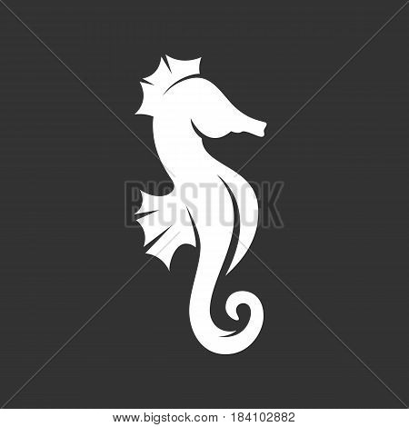 Sea horse vector logo isolated on a black background. Sea horse icon silhouette design template. Simple symbol concept in flat style. Abstract sign pictogram for web mobile and infographics