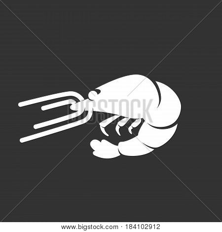 Shrimp vector logo isolated on a black background. Shrimp icon silhouette design template. Simple symbol concept in flat style. Abstract sign pictogram for web mobile and infographics