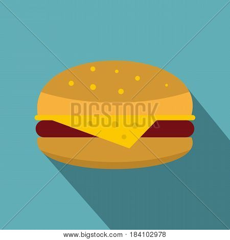 Cheeseburger icon. Flat illustration of cheeseburger vector icon for web on baby blue background