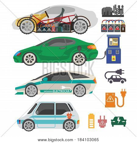 Electrocar or electric car modern automobile vehicle mechanisms and accessory parts. Vector flat icons of charge station and plug socket, engine battery and gears or transmission system details