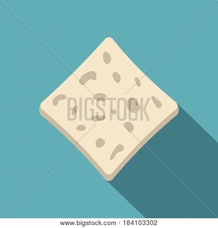 Tofu fresh block icon. Flat illustration of tofu fresh block vector icon for web on baby blue background