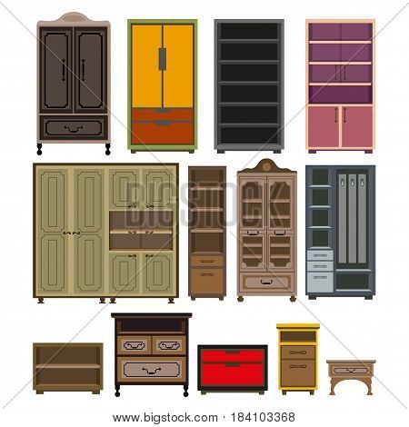 Cabinets and drawer chests furniture for home and office. Vector isolated flat icons of retro cupboard, bookshelf and vintage shelf, modern wardrobe lockers and cupboards