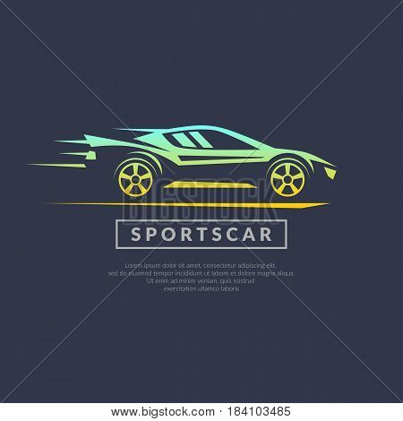 Modern vector logo sports cars on a dark background in linear style