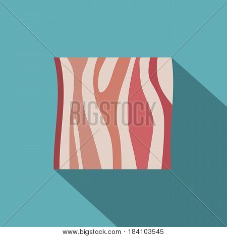 Slice of ham icon. Flat illustration of slice of ham vector icon for web on baby blue background