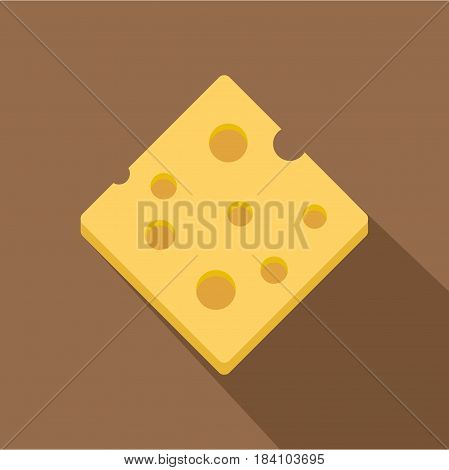 Cheese fresh block icon. Flat illustration of cheese fresh block vector icon for web on coffee background