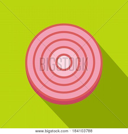 Slice of sweet red onion icon. Flat illustration of slice of sweet red onion vector icon for web on lime background