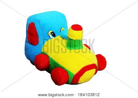 Colored Soft Toy Train On A White Background