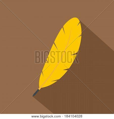 Yellow feather pen icon. Flat illustration of yellow feather pen vector icon for web on coffee background