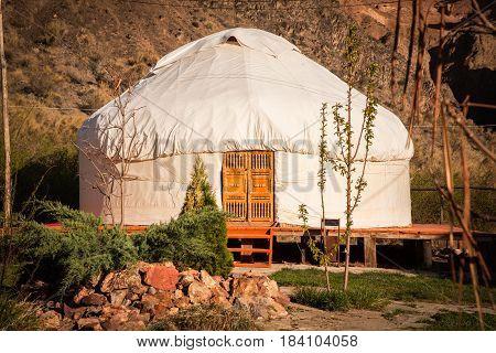 Kazakh Yurt On The Silk Way In Kazakhstan Mountains