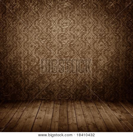 room interior vintage with grunge fabric wall