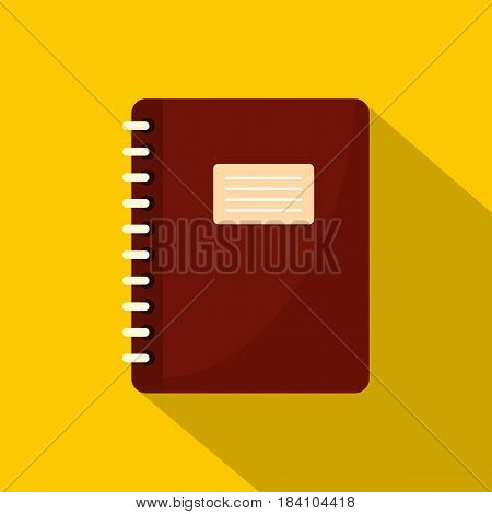 Brown spiral notepad icon. Flat illustration of brown spiral notepad vector icon for web on yellow background