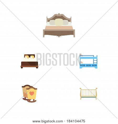 Flat  Set Of Bunk Bed, Cot, Crib And Other Vector Objects. Also Includes Bedroom, Double, Crib Elements.