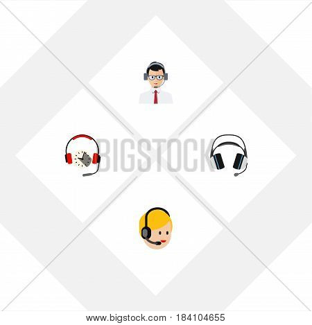 Flat Hotline Set Of Earphone, Call Center, Help And Other Vector Objects. Also Includes Operator, Center, Call Elements.
