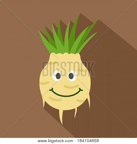 Fresh smiling turnip icon. Flat illustration of fresh smiling turnip vector icon for web on coffee background